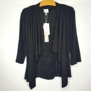 Cupio Black Shirred Shrug Sweater Sz Small